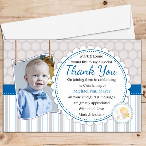 10 Personalised Christening Baptism Thank you PHOTO Cards N238 Spots & Stripes
